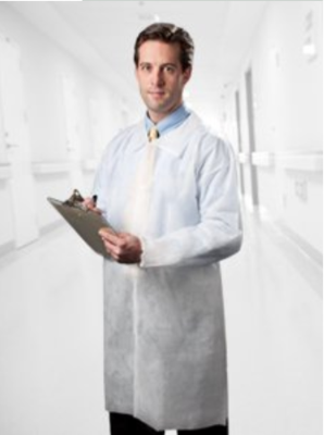 Disposable non-woven lab coat with velcroes